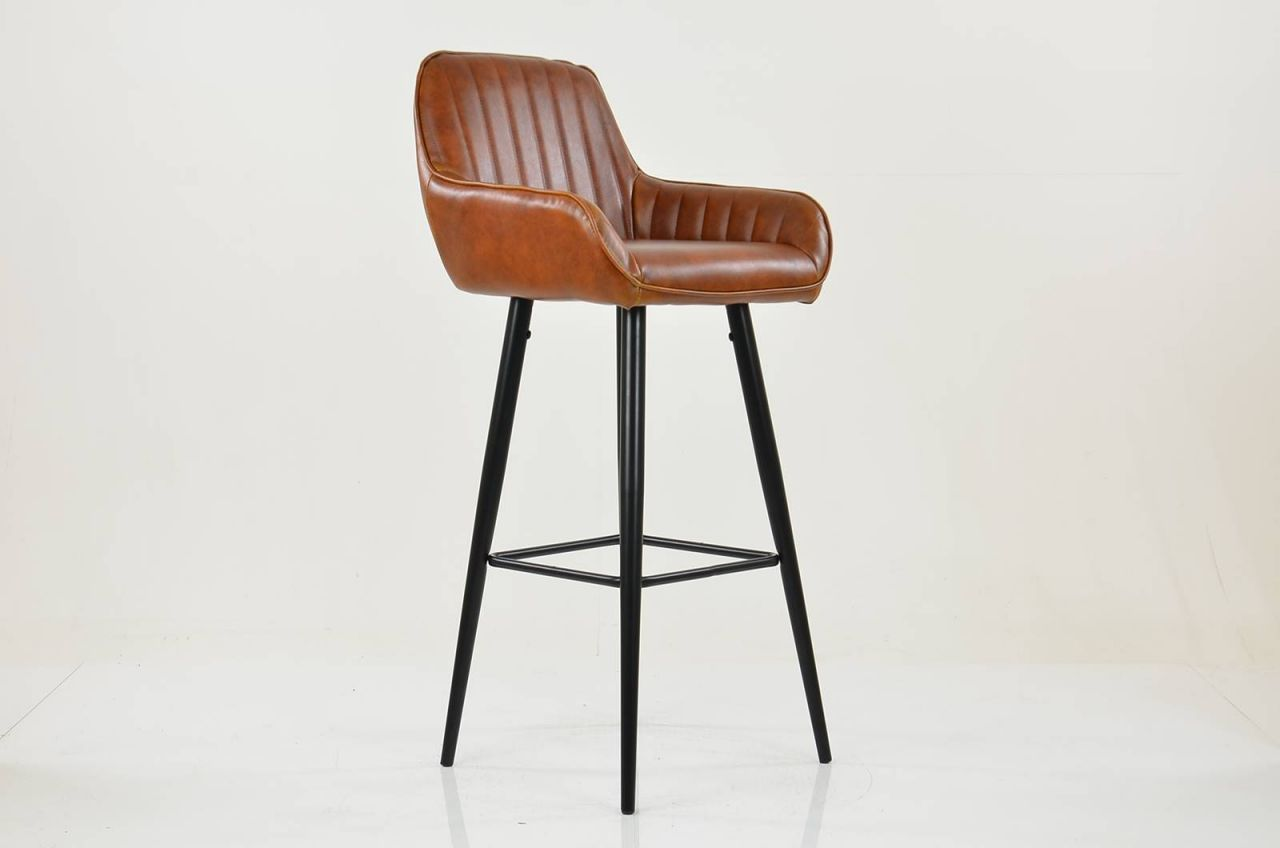 Hamilton Vintage Brown Faux Leather Breakfast Bar Stool