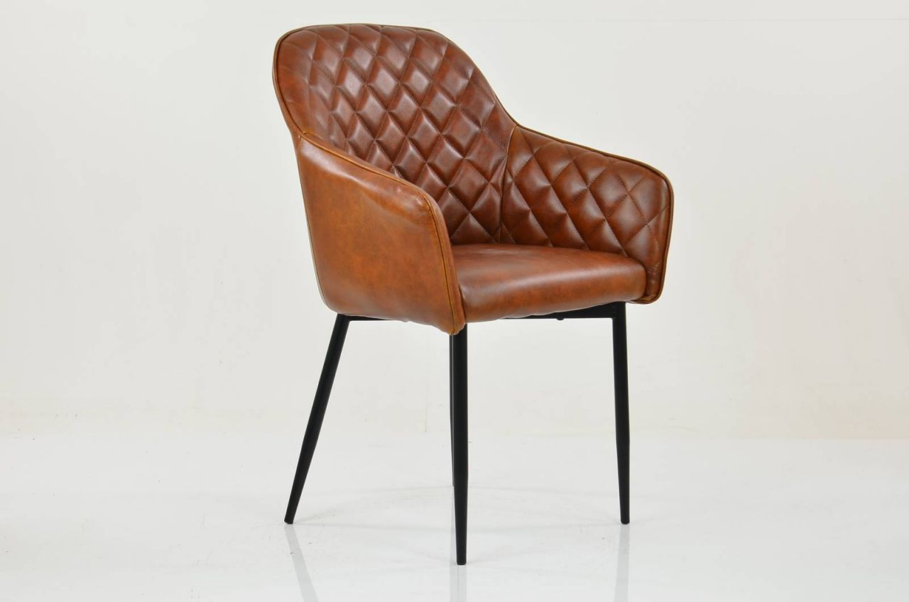 Picture of: Opus Carver Dining Chair Vintage Brown Leather Black Leg