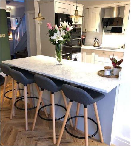 Bar Stools Upholstered Velvet Seat Metal Legs Breakfast Bar Kitchen Counter UK